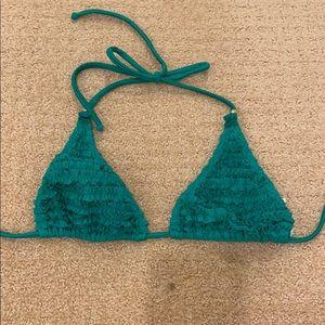 PilyQ Green Smocked Bikini Top